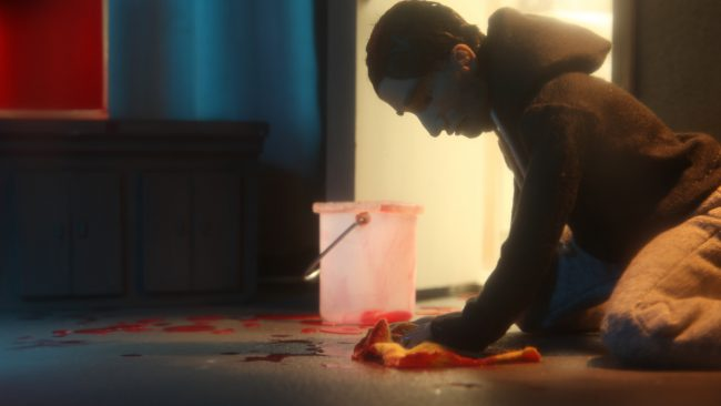 Animation film still showing a man who is mopping the floor. Photo.