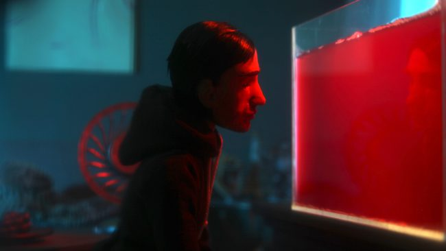 Animation film still showing a man who looks at an aquarium full of blood. Photo.