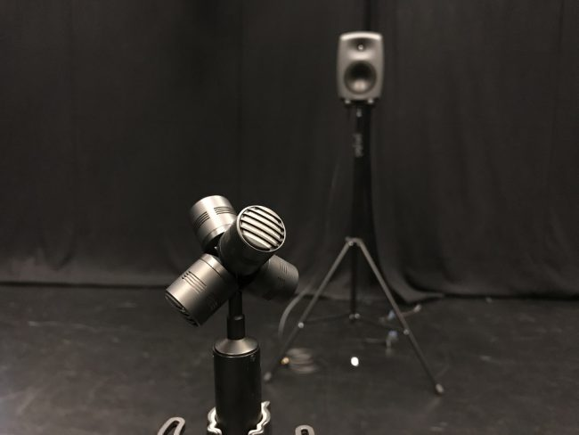 Sound studo with mic and loadspeaker. Photo.