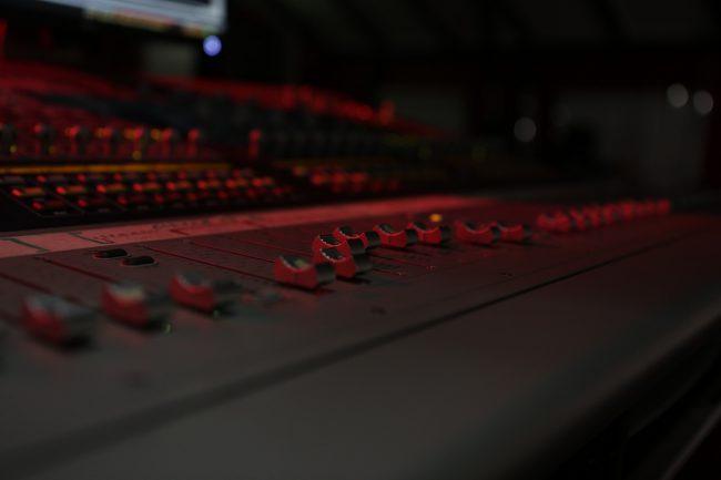 Sound mixer panel. Photo.