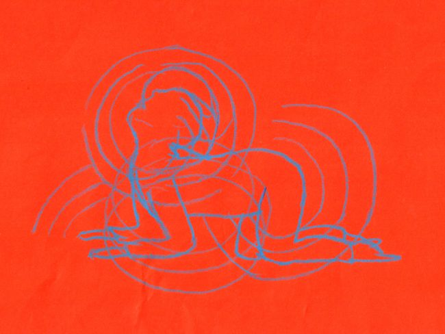 Drawing on red background with person in yoga position. Illustration.
