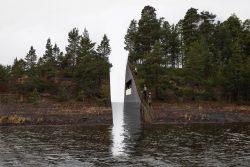Model of Memory Wound, a gap cut into the Sørbråten peninsula. Photo.