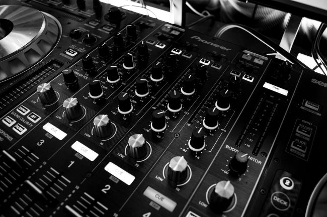 Sound mixer in black and white. Photo.