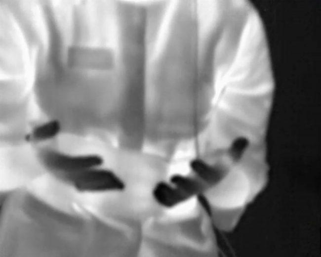 Negative image of torso. Photo.