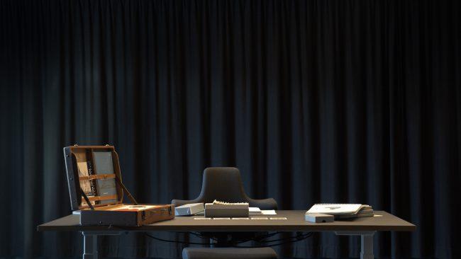 Arranged desk. Photo.