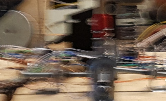 Blurred image of technical objects. Photo.