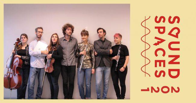 Portrait of the Ars Nova Ensemble with illustration. Photo.